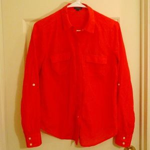 Ann Taylor Red Silk Pocket Button Down Blouse